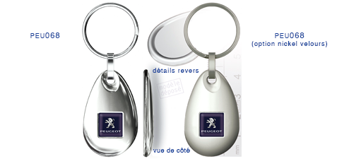 Porte clés Peugeot peu068/peu068 (option nickel velours)
